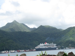 Queen Mary 2 docked in Pago Pago